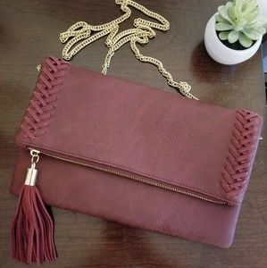 Burgandy tassel crossbody purse